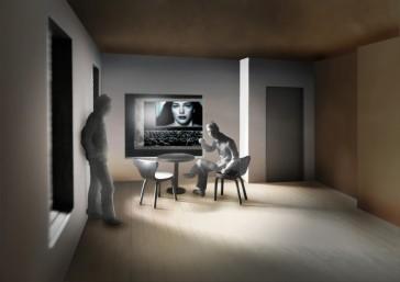 Kino Razzia, Modellbild, Blick vom Hotelzimmer in den Kinosaal