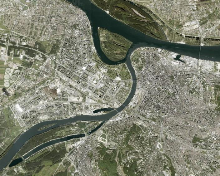 Der autonome Flussraum, Satellitenbild, Belgrad, Serbien