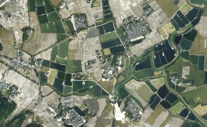 Satelitenbild einer Diaolou Siedlung, Zilli Village, Guangdong, China