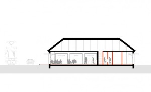Umbau eines Garagenhauses, Schnitt CC, 1:100